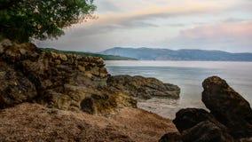 Vista de uma praia na ilha Krk HDR Fotografia de Stock