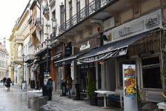 Vista de uma rua pedestre em Bucareste Fotografia de Stock Royalty Free