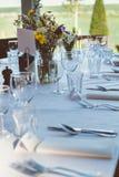 Vista de uma tabela para uma recepção Fotografia de Stock Royalty Free