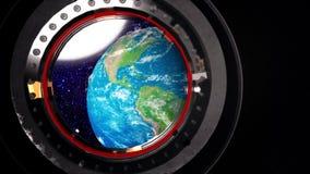 Vista de uma vigia da estação espacial ilustração stock
