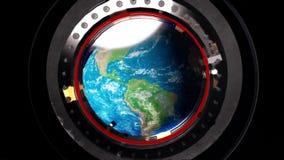 Vista de uma vigia da estação espacial a terra ilustração stock