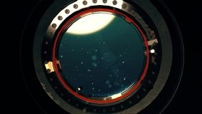 Vista de uma vigia do oceano profundo do submarino ou do bathyscaphe filme