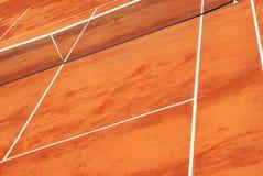 Vista de un campo de tenis de la arcilla Fotos de archivo libres de regalías