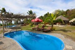 Vista de un centro turístico en una isla de las islas de Yasawa, Fiji fotos de archivo libres de regalías