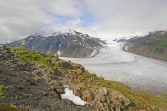 Vista de un glaciar de un afloramiento Fotografía de archivo libre de regalías