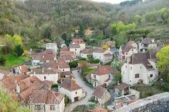 Vista de un pueblo medieval Fotos de archivo