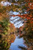 Vista de un río enmarcado por el follaje de otoño Fotografía de archivo libre de regalías