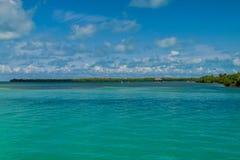 Vista de una costa de la isla del calafate de Caye, Beli fotos de archivo