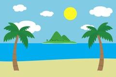 Vista de una playa arenosa tropical con dos palmeras verdes en la orilla de mar con una isla con las colinas y las montañas cubie Foto de archivo