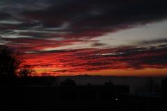 Vista de una puesta del sol mágica fotografía de archivo