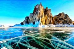 Vista de una roca sola en el hielo de un lago mountain del invierno libre illustration