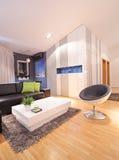 Vista de una sala de estar en el apartamento Imagenes de archivo