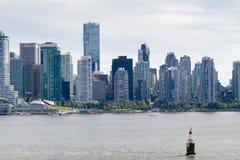 Vista de Vancouver céntrica del agua Fotografía de archivo