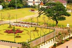 Vista de Vientián de Victory Gate Patuxai, Laos Fotos de archivo