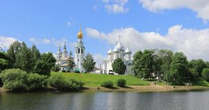 Vista de Vologda kremlin, Rússia vídeos de arquivo