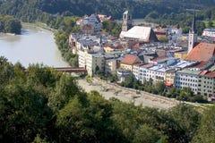 Vista de Wasserburg (Baviera) fotografía de archivo