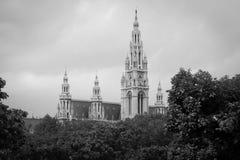 Vista de Wien Rathaus em Áustria Foto de Stock