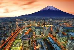 Yokohama e Fuji foto de stock