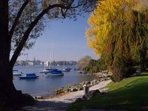 Vista de Zurique sobre o lago Imagem de Stock Royalty Free