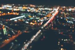 Vista defocused aérea de uma estrada maciça em Los Angeles Imagens de Stock