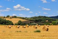 Vista dei campi con le balle di fieno nella regione toscana Siena in Ital Immagine Stock