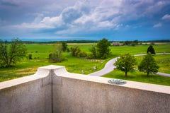 Vista dei campi dal monumento della Pensilvania a Gettysburg, penna Fotografia Stock Libera da Diritti
