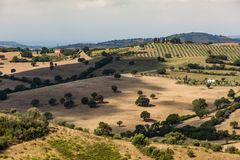 Vista dei campi e delle colline toscani nella regione di Maremma in Italia Fotografia Stock
