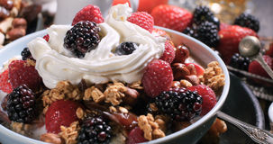 Vista dei cereali con le bacche, i frutti asciutti, il latte e la panna montata Fotografie Stock Libere da Diritti