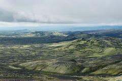 Vista dei crateri ad area di Lakagigar, Islanda di eruzione Fotografie Stock