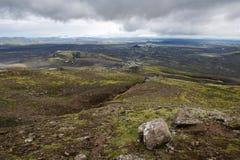 Vista dei crateri di eruzione a Lakagigar, Islanda Immagine Stock