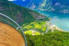 Vista dei fiordi al punto di vista di Stegastein in Norvegia Immagine Stock Libera da Diritti