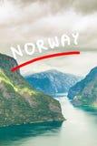 Vista dei fiordi al punto di vista di Stegastein in Norvegia Immagine Stock
