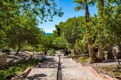 Vista dei giardini a Almeria & il x28; AlmerÃa& x29; castello & x28; Alcazaba di Almeria& x29; Immagine Stock