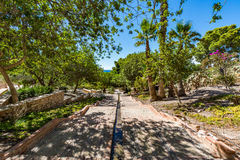 Vista dei giardini a Almeria & il x28; AlmerÃa& x29; castello & x28; Alcazaba di Almeria& x29; Fotografia Stock Libera da Diritti