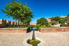 Vista dei giardini a Almeria & il x28; AlmerÃa& x29; castello & x28; Alcazaba di Almeria& x29; Fotografia Stock