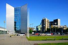 Vista dei grattacieli della città di Vilnius nuova il 6 giugno 2015 Immagini Stock