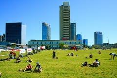 Vista dei grattacieli della città di Vilnius nuova il 6 giugno 2015 Immagini Stock Libere da Diritti