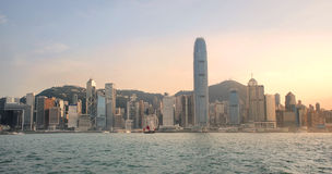 Vista dei grattacieli di Hong Kong da Kowloon immagine stock libera da diritti