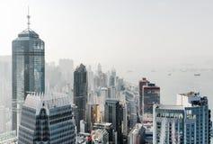 Vista dei grattacieli nel centro di affari della città di Hong Kong Fotografia Stock Libera da Diritti