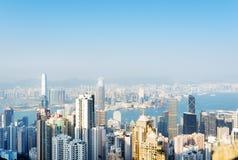 Vista dei grattacieli nella città di Hong Kong Fotografie Stock Libere da Diritti