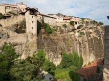 Vista dei monasteri di Meteora della cima della scogliera Fotografia Stock