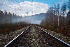 Vista dei pali ferroviari ed elettrici in nebbia nella primavera immagini stock libere da diritti
