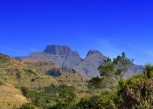 Vista dei picchi di montagna di Drakensberg Fotografie Stock