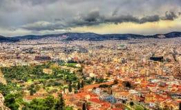 Vista del ágora antiguo de Atenas Imágenes de archivo libres de regalías