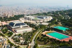 Vista del área de Olimpic de Montjuic Barcelona Fotografía de archivo