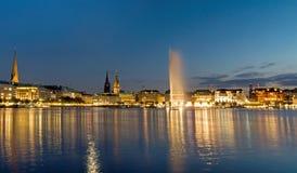 Vista del Alster a Amburgo Fotografie Stock
