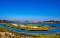 Vista del Back Bay in spiaggia di Newport fotografia stock libera da diritti