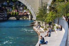 Vista del Baerenpark en el capital de Berna, Suiza Fotografía de archivo libre de regalías