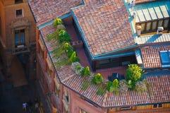 Vista del balcone di Bologna da due torri immagine stock