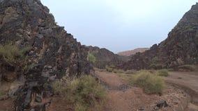 Vista del barranco de Charyn barranco Rojo-negro de Marte Sandy y borde de piedra del barranco almacen de video